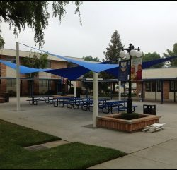 Custom blue sun shade sails in Van Nuys