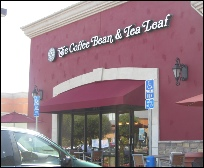 Burgundy storefront awnings in Van Nuys for The Coffee Bean
