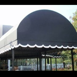 Black with white accent entrance awning