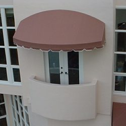 Custom residential porch awning with brown awning fabric