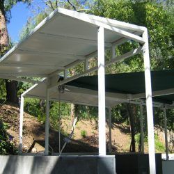 Custom white metal awning