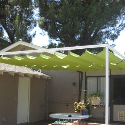 Slide on wire awning with lime green awning fabric