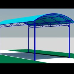 Blue awning rendering and 3D awning design