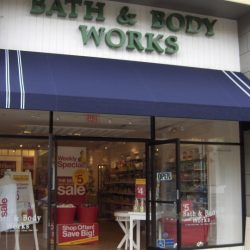 Blue commercial awning for Bath & Body Works