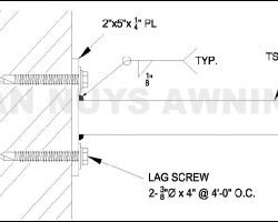 Awning detail drawings for a custom awning in Van Nuys