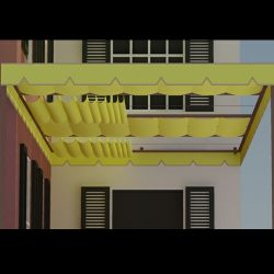 Yellow retractable awning rendering