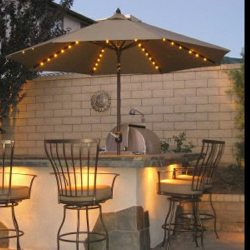 Custom olive residential umbrella with lights