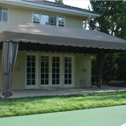 Patio shade awning with brown awning fabric