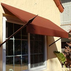Spearhead awning with brown awning fabric