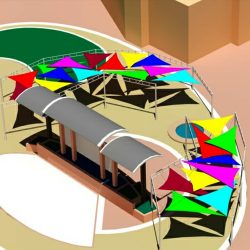 Multicolored sun shade awning rendering and 3D drawings