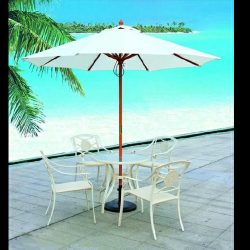 White commercial umbrellas and metal chairs