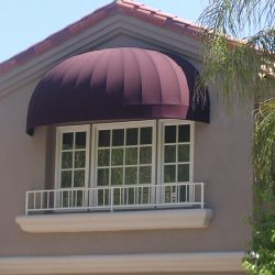 Custom dark red residential patio awning