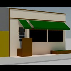 Green window awning rendering
