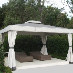 Custom cabana with grey and white awning fabric