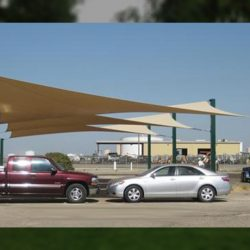 Commercial sun shade panel with tan awning fabric