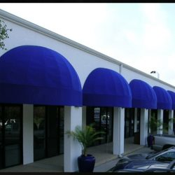 Commercial dome awnings with blue awning fabric