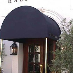Entrance awning with black awning fabric for Ralph Lauren