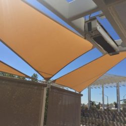 Light brown sun shade panel with custom awning fabric