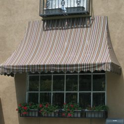 Custom striped residential window awning
