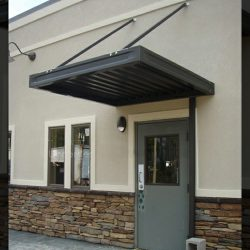 Black aluminum entrance awning