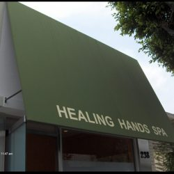 Custom awning graphic for Healing Hands Spa