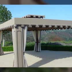 Custom cabana with dark grey awning fabric and custom drapes