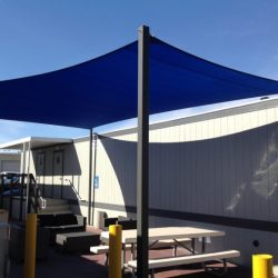 Custom sun shade sail with blue awning fabric