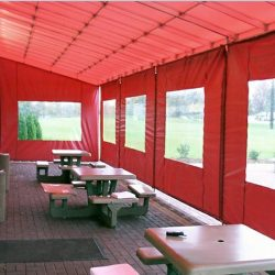Red storefront awning for a patio
