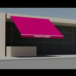 Pink entrance awning rendering for Gelson's Market