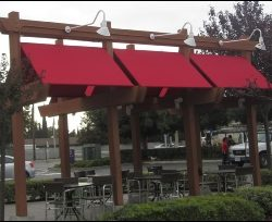 Red custom awnings and canvas for Pand Express in Van Nuys