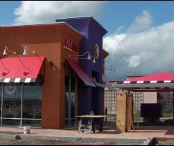 Custom patio awning cover and window canopy for Panda Express