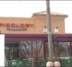 Maroon patio awning cover for Pieology Pizzeria in Van Nuys