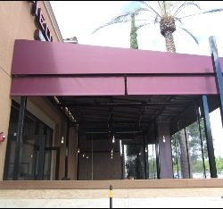 Maroon custom made patio awning in Van Nuys