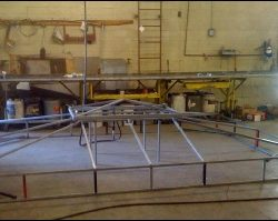 Piecing together a custom aluminum awning in our Van Nuys shop