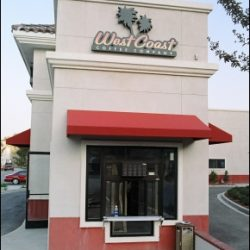 Custom storefront awning for West Coast Coffee Company