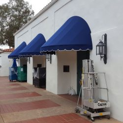 Custom blue fabric awning