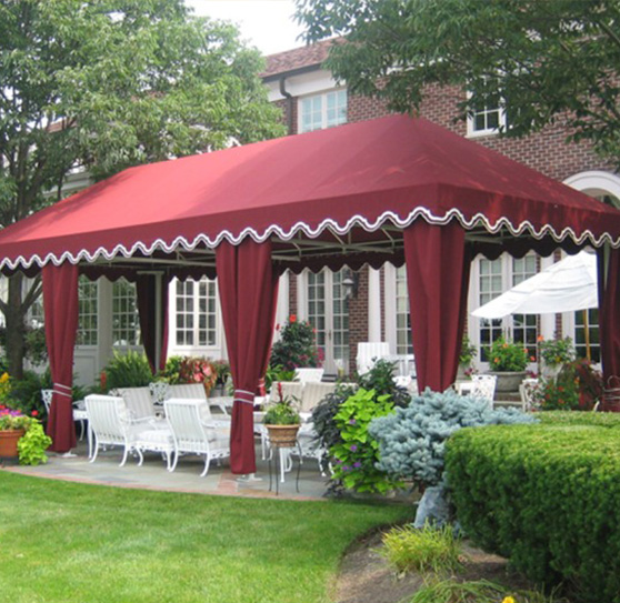 Custom outdoor canopy with red fabric