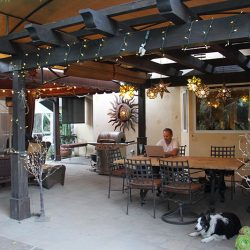 Beautiful custom wood canopy with awning