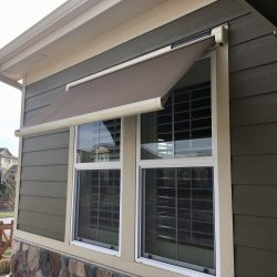 Sol-Lux smart home window awning with grey awning fabric
