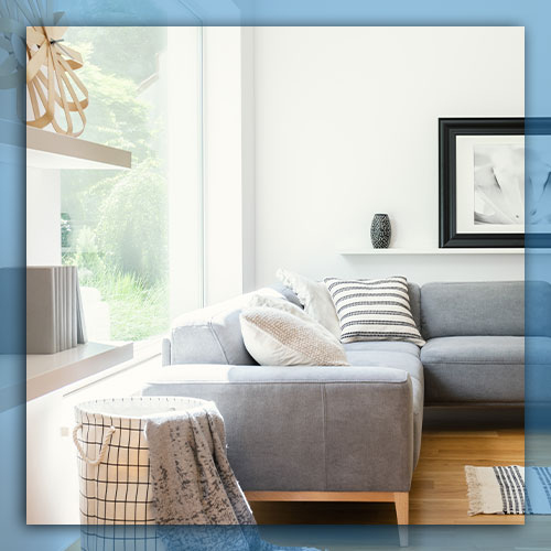 Couch by sunny window