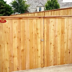 large wooden gate installation