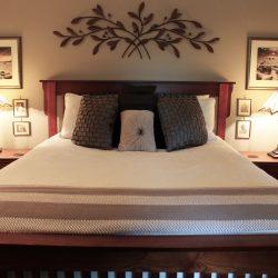 Enjoy a romantic getaway in this bedroom at The Vineyard Suite.