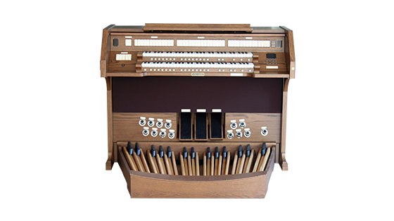 hybrid organ with brown finish