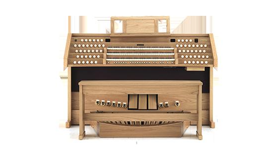 church organ in light wood