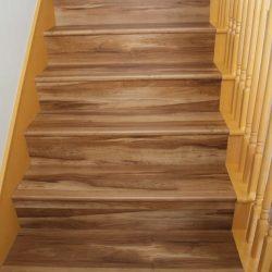 Darker Brown Wood Laminate Flooring Installed On Stairs ...