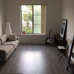 Grey wood laminate flooring in living room with reflection