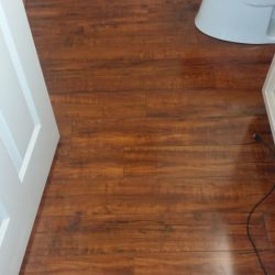 Wood laminate flooring installed in bathroom