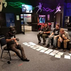Image of friends watching a virtual reality session