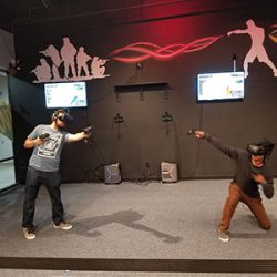 Image of a duel of VR users