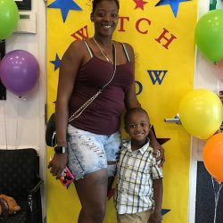 Mother and young son posing for picture at Watch Me Grow Las Vegas